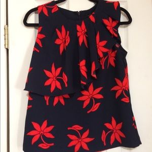 Banana Republic Navy and Red Floral Asymmetrical